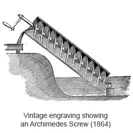 An engraving of an Archimedes screw
